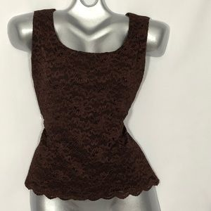 Brown lace sleeveless scoop neck blouse camisole